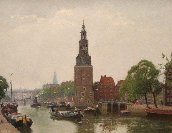 G F Schagen van - Stadsgezicht Amsterdam met Montelbaanstoren