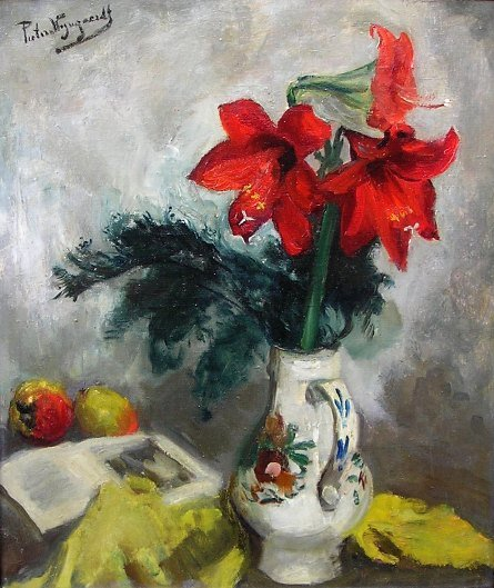 Piet van Wijngaerdt - Veelkleurige vaas met amaryllus