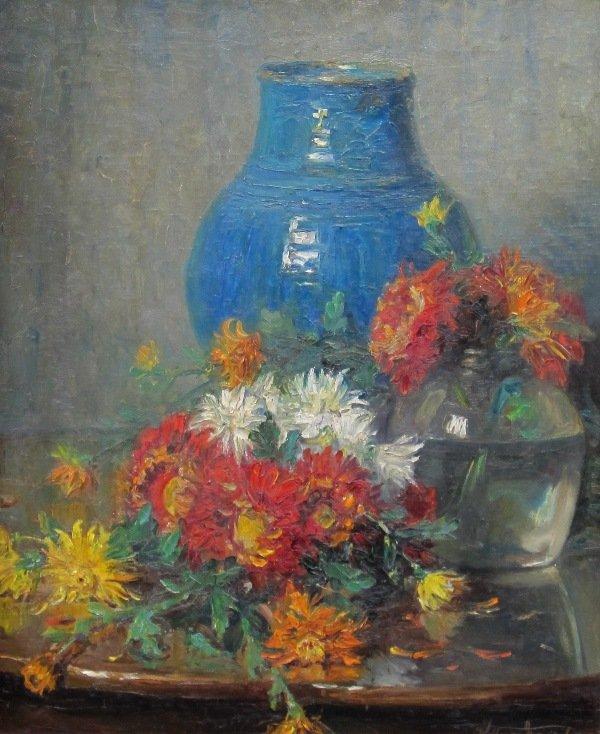Willem van Nieuwenhoven - Bloemstilleven met Turquoise vaas