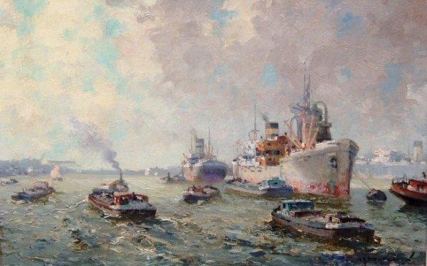 Gerard Delfgaauw - Havengezicht Rotterdam
