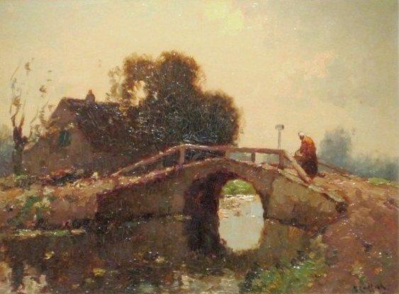 Aris Knikker - Landschap met vrouw op een brug