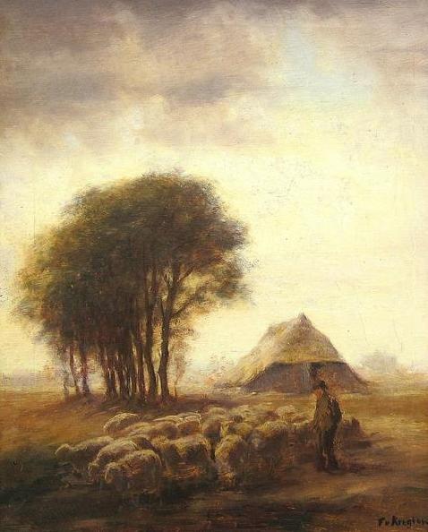 Fedor van Kregten - Herder met schapen in Drenthe