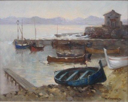 Jan Korthals - Vissersboten op het strand bij St. Juan-les-Pins