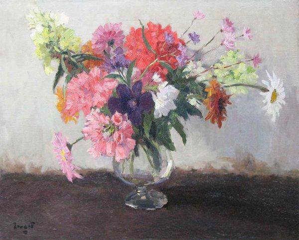 A.J. Zwart - Vlammend bloemstilleven