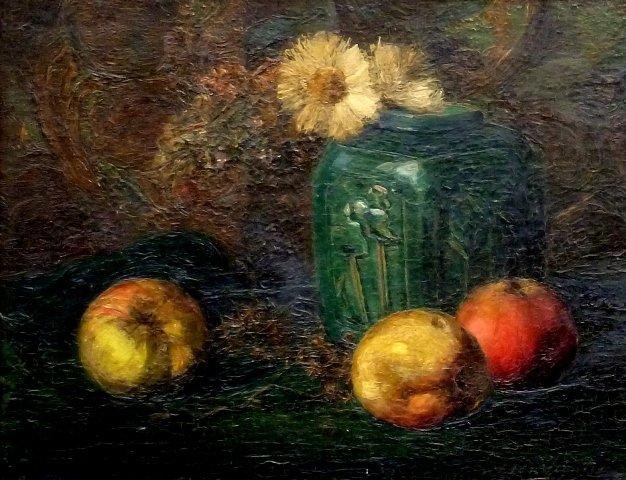 Alida van Houten - Stilleven met rozen en stilleven met gemberpotje(2 x)