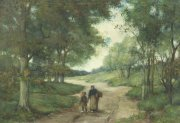 Moeder en kind op weg naar huis
