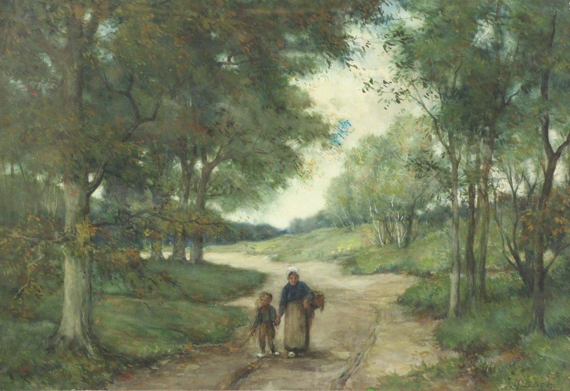 Johannes Marinus Bach - Moeder en kind op weg naar huis