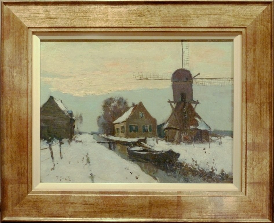 Victor Bauffe - Winterlandschap met wipmolen