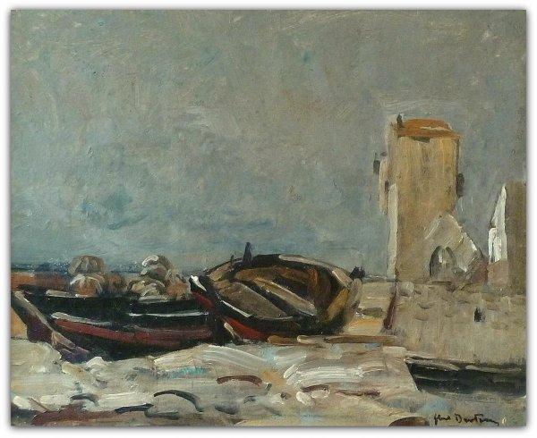 Abel Bertram - Vissersboten op het strand bij Guilvinec