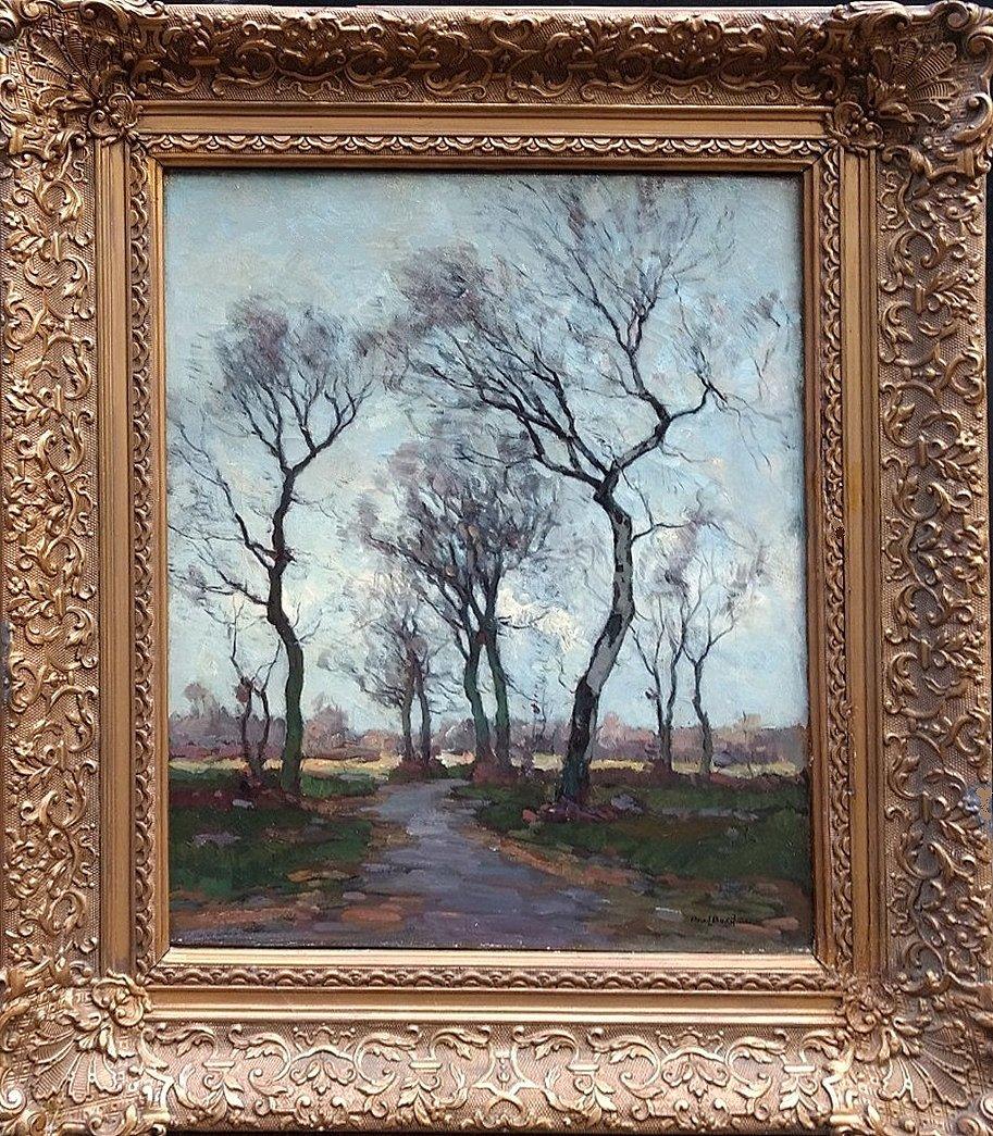 Paul Bodifee - Paul Bodifee: Bomenlaan met gezicht op een stad