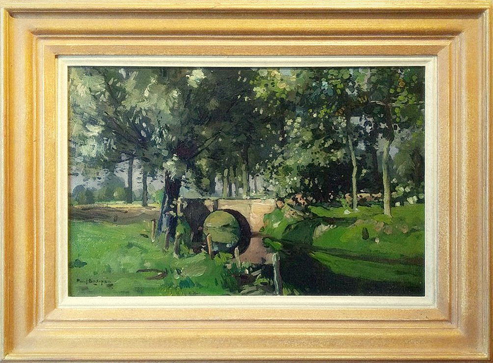 Paul Bodifee - Hollandse Zomer  Bruggetje in het oude plantsoen te Deventer