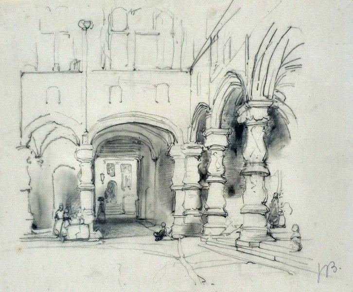 Johannes Bosboom - Binnenplaats van een klooster