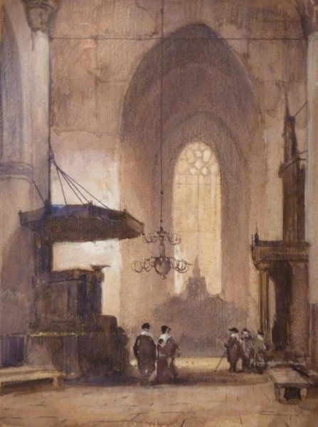 Johannes Bosboom - Kerkinterieur met figuren