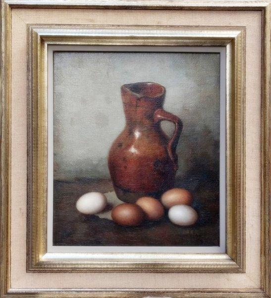 Henk Bos - Stilleven met antieke kan en eieren