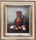 Stilleven met antieke kan en eieren