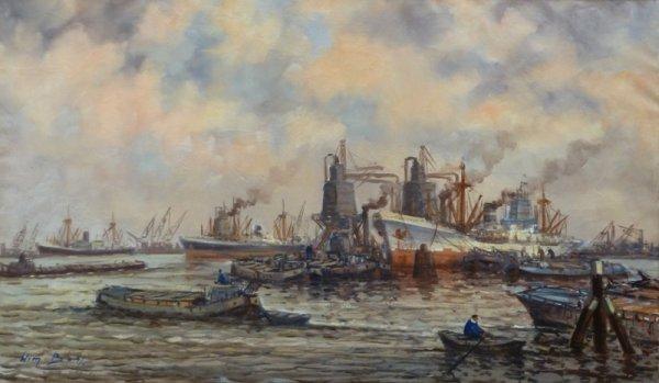 Willem Bos - Havengezicht Rotterdam