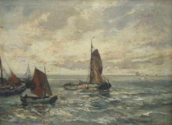 Cornelis de Bruin - Binnenvarende vissersschepen.