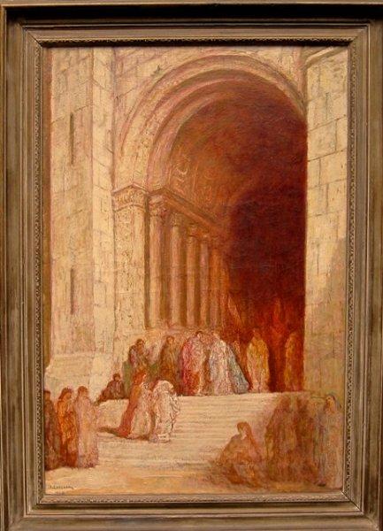 Jan  (roepnaam Ko) Cossaar - Ingang kathedraal met figuren