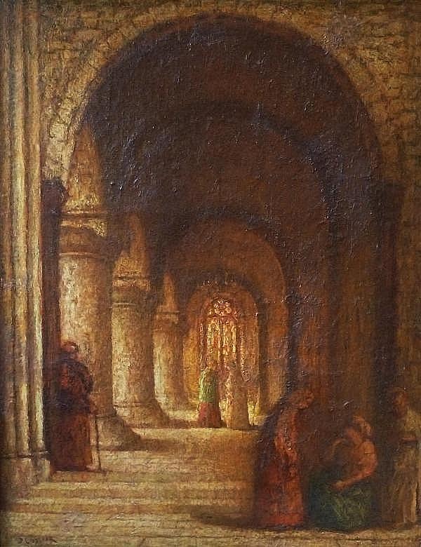 Jan  (roepnaam Ko) Cossaar - Groot kerkinterieur met personen