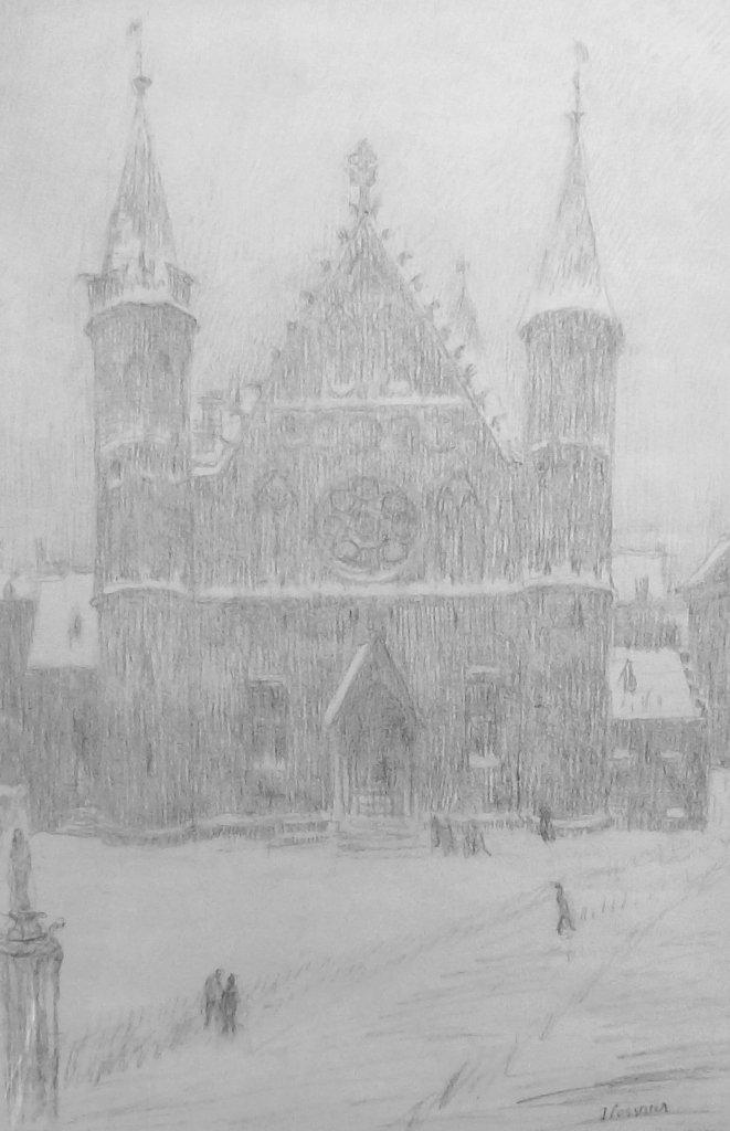 Jan  (roepnaam Ko) Cossaar - Ridderzaal in de sneeuw