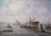 Klein havengezicht Rotterdam (30x40 cm.