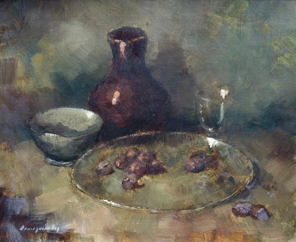 Louis Demesmaeker - Herfststilleven met kastanjes op een bord