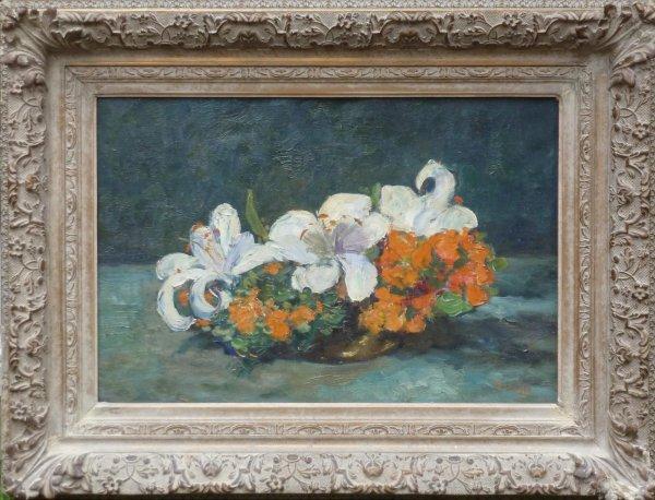 Jacob (J.J.) Doeser - Veelkleurig bloemstilleven in lage schaal