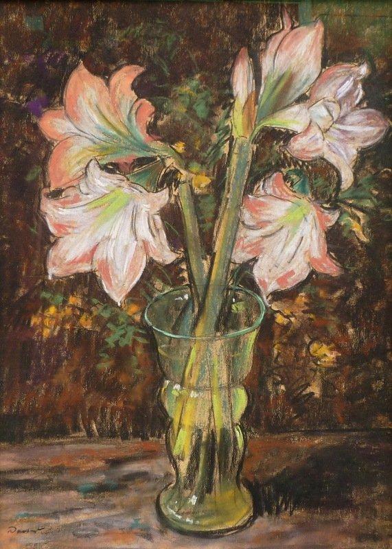 Jacob (J.J.) Doeser - Glazen vaas met lelies