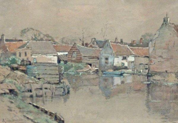 A.J. van Driesten - Dorp aan het water