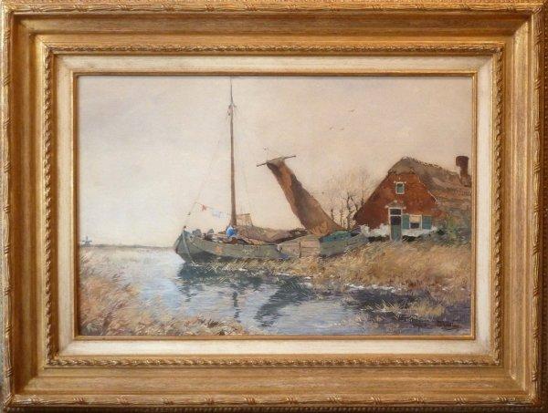 A.J. van Driesten - Aangemeerde platbodem bij boerderij