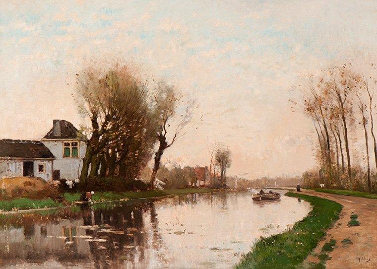 Marinus Gidding - Herfstmorgen over het water