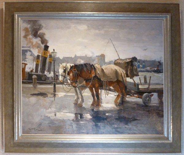Hendrik Pieter (Piet) Groen - Sleperspaarden op de kade te Rotterdam.