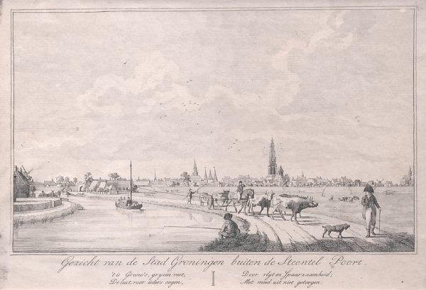Groningen Gravure - Gezicht op de stad Groningen buiten de Aa-poort en Gezicht op de stad Groningen buiten de Steentelpoort