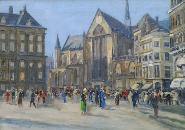 D. J. van Haaren - Levendig stadsgezicht Amsterdam met Nieuwe Kerk en Paleis op de Dam
