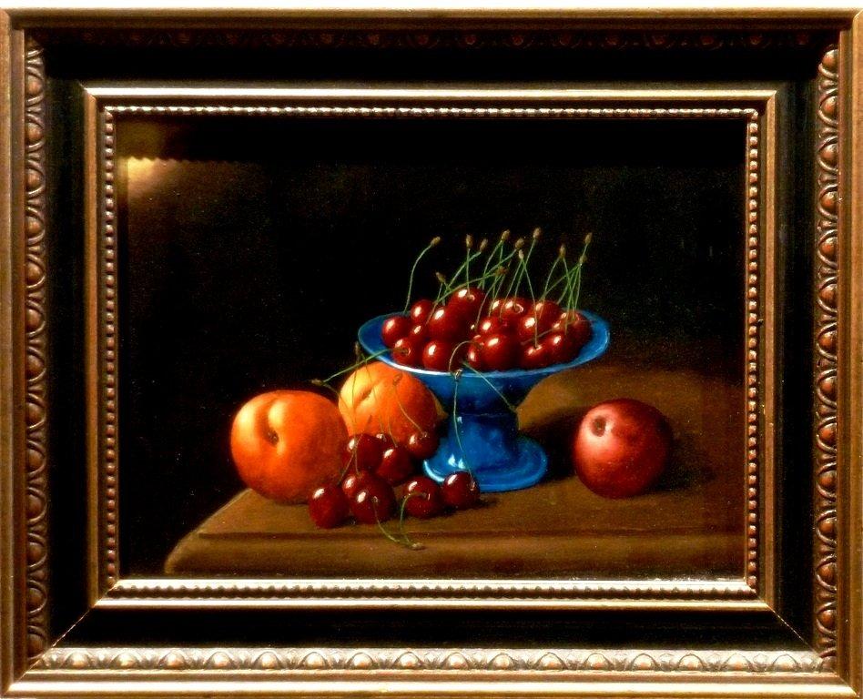 Elbert Hooijberg - Stilleven met perziken en kersen
