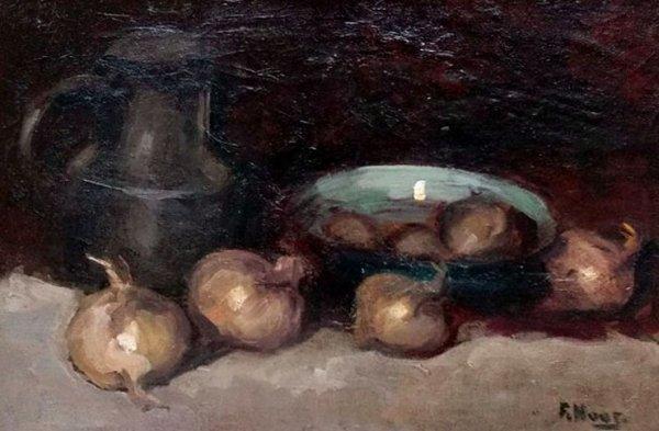 Frans Hoos - Keukenstilleven met uien, schaal en tinnen kan