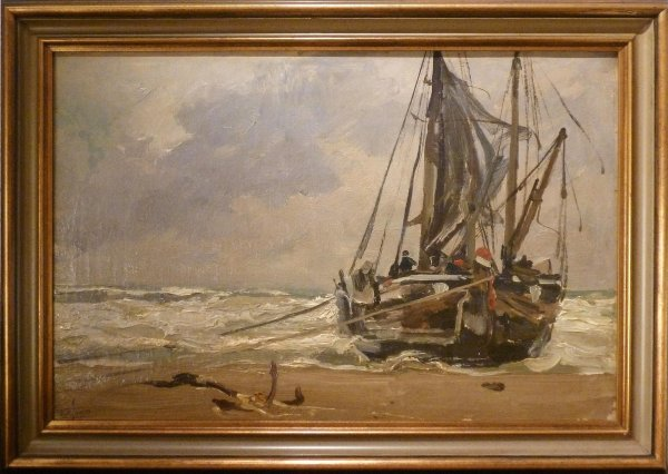Hendrik Willebrord Jansen - Bomschuit op het strand (waarschijnlijk) Katwijk