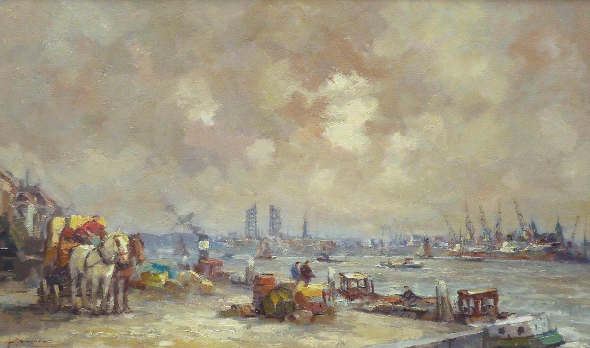 Jan Jumelet - De Boompjes Rotterdam, met in de verte de oude hefbrug.