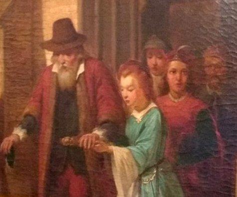 Hollandse school en ongesigneerd - Vader en dochter verlaten de kerk