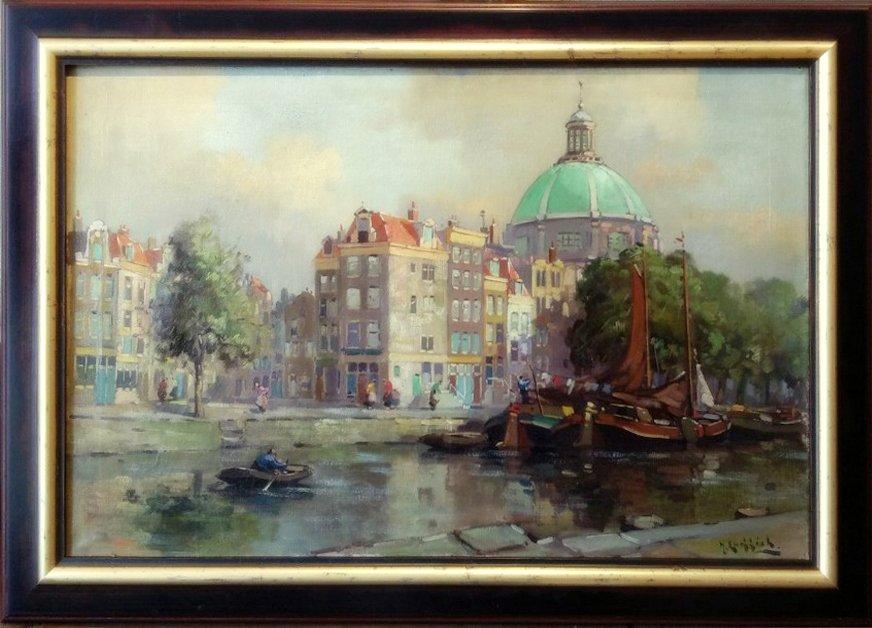 Jan Knikker jr - Gezicht op de Koepelkerk Amsterdam