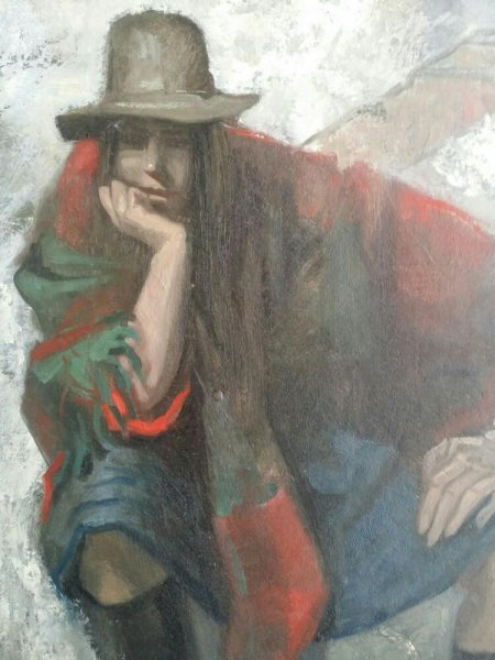 Ab Knupker - Vrouw met omslagdoek en hoed