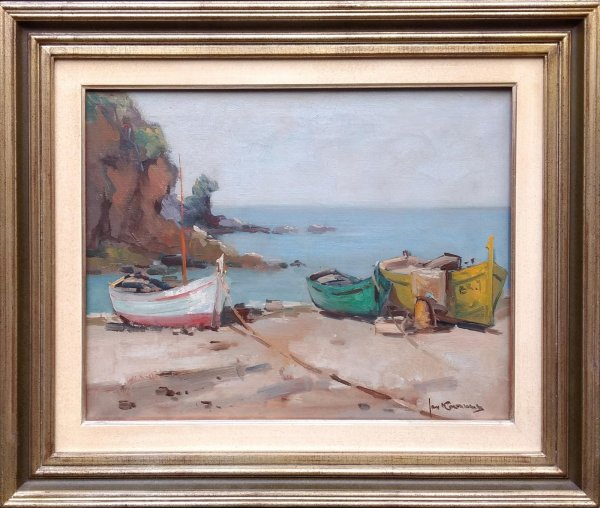 Jan Korthals - Vissersbootjes op het strand