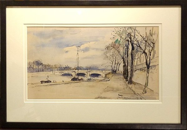Jan Korthals - Kade van de Seine met brug in Parijs