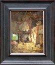 Larense school interieur<br> Boerin met geitje