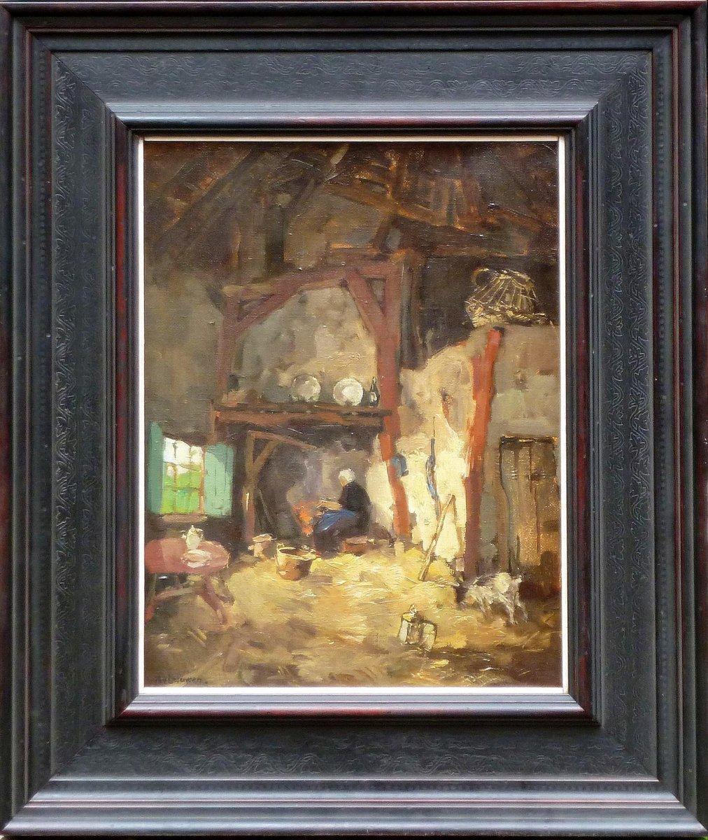 Henk van Leeuwen v.o. - Larense school interieur<br> Boerin met geitje