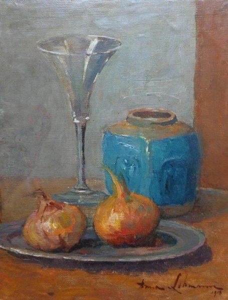 Anna Elisabeth Lehmann-Koppenol - Stilleven met gemberpot, glas en uien