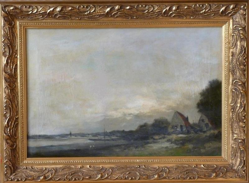 Anton Markus - Vissershuisjes aan de Rijn bij Oosterbeek