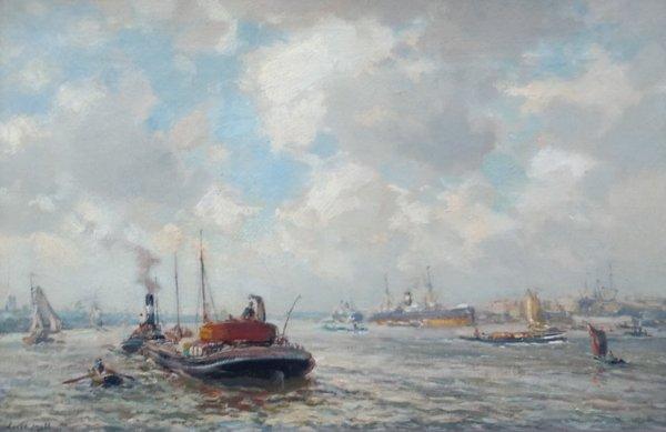 Evert Moll - Wijds havengezicht Rotterdam