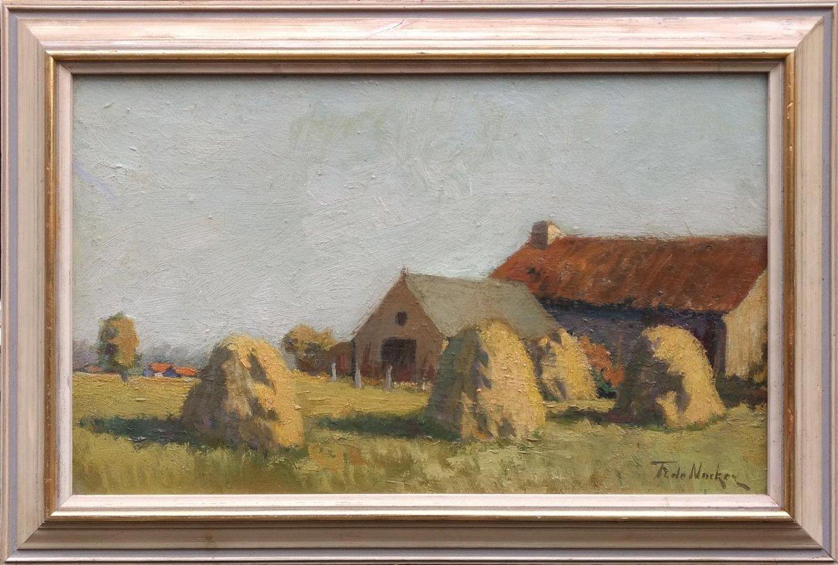 Frans de Nocker - Zomerlandschap met korenschoven