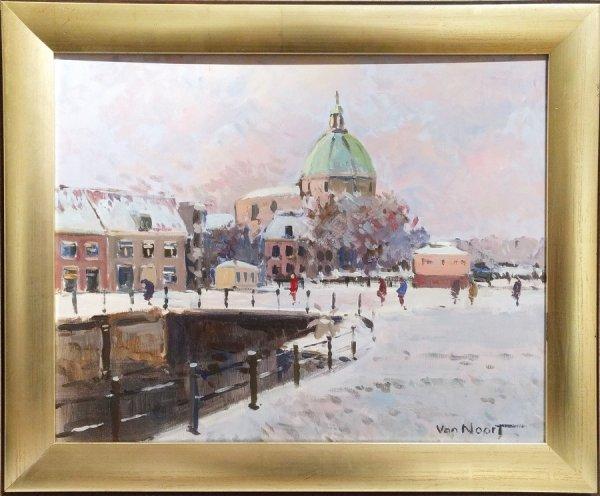 Alexander van Noort - Wintergezicht Amsterdam met Lutherse kerk